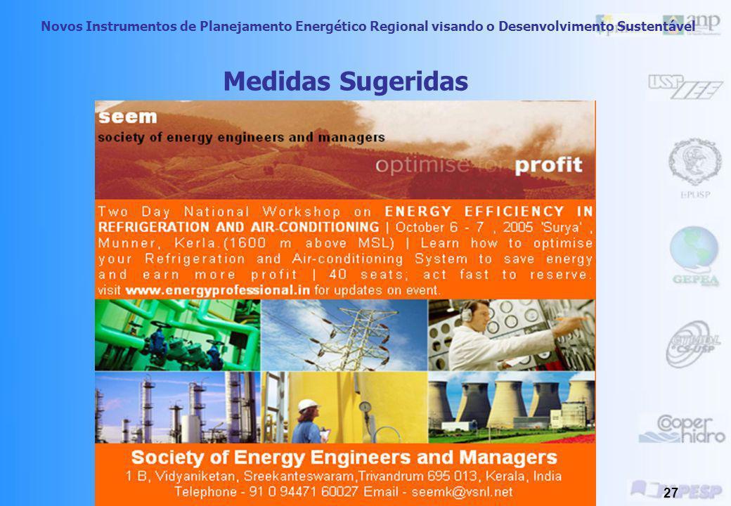 Novos Instrumentos de Planejamento Energético Regional visando o Desenvolvimento Sustentável 26 Medidas Sugeridas Gerar pressão pública para que as me