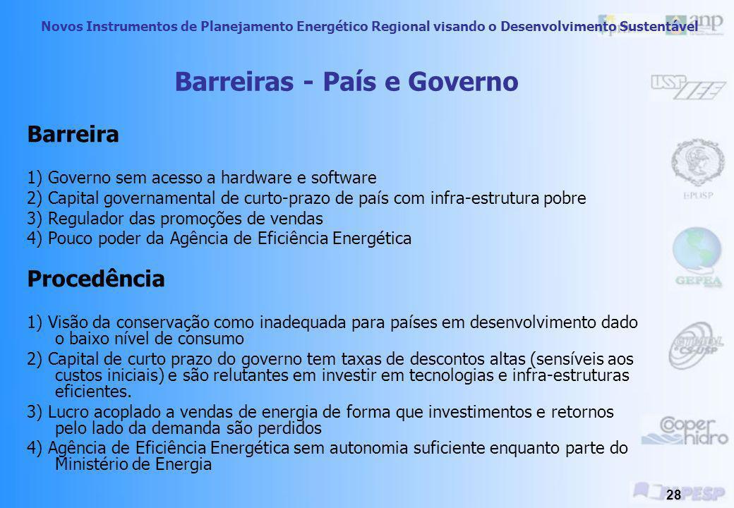 Novos Instrumentos de Planejamento Energético Regional visando o Desenvolvimento Sustentável 27 Medidas Sugeridas