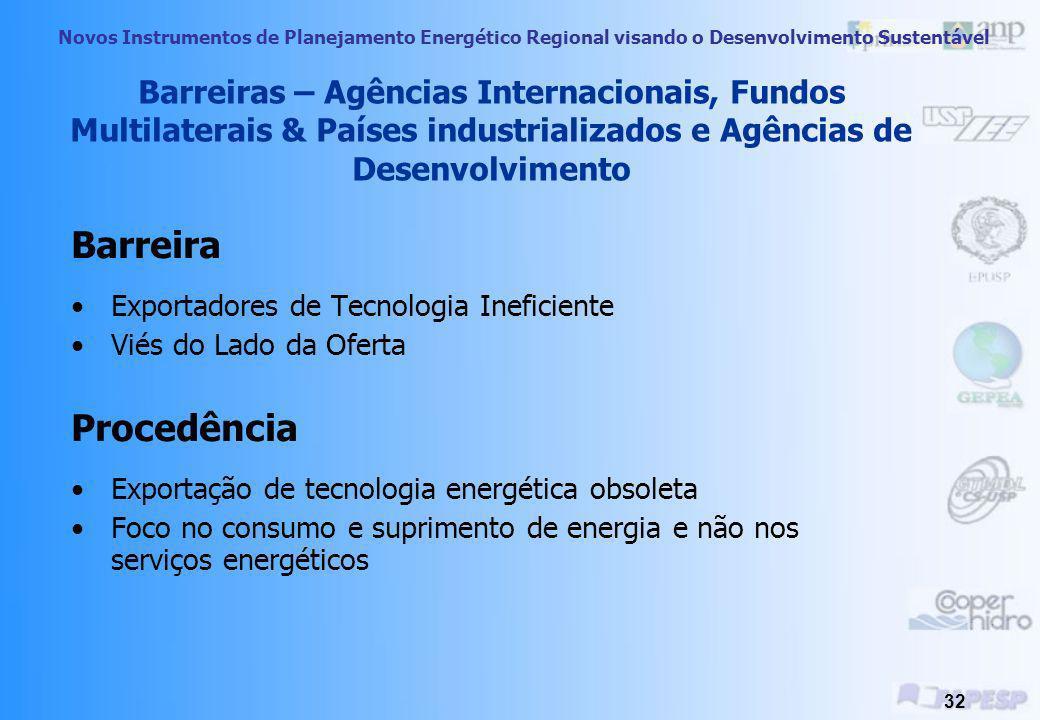 Novos Instrumentos de Planejamento Energético Regional visando o Desenvolvimento Sustentável 31 Medidas Sugeridas Custo marginal de longo-prazo; melho
