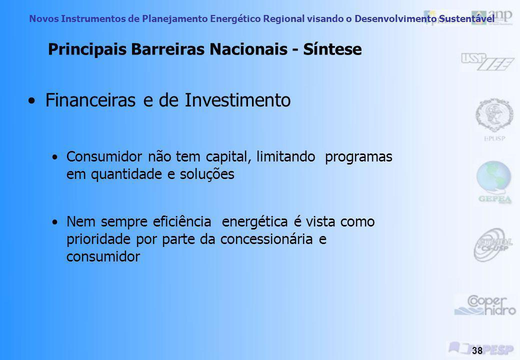 Novos Instrumentos de Planejamento Energético Regional visando o Desenvolvimento Sustentável 37 Principais Barreiras Nacionais - Síntese Legais e Inst