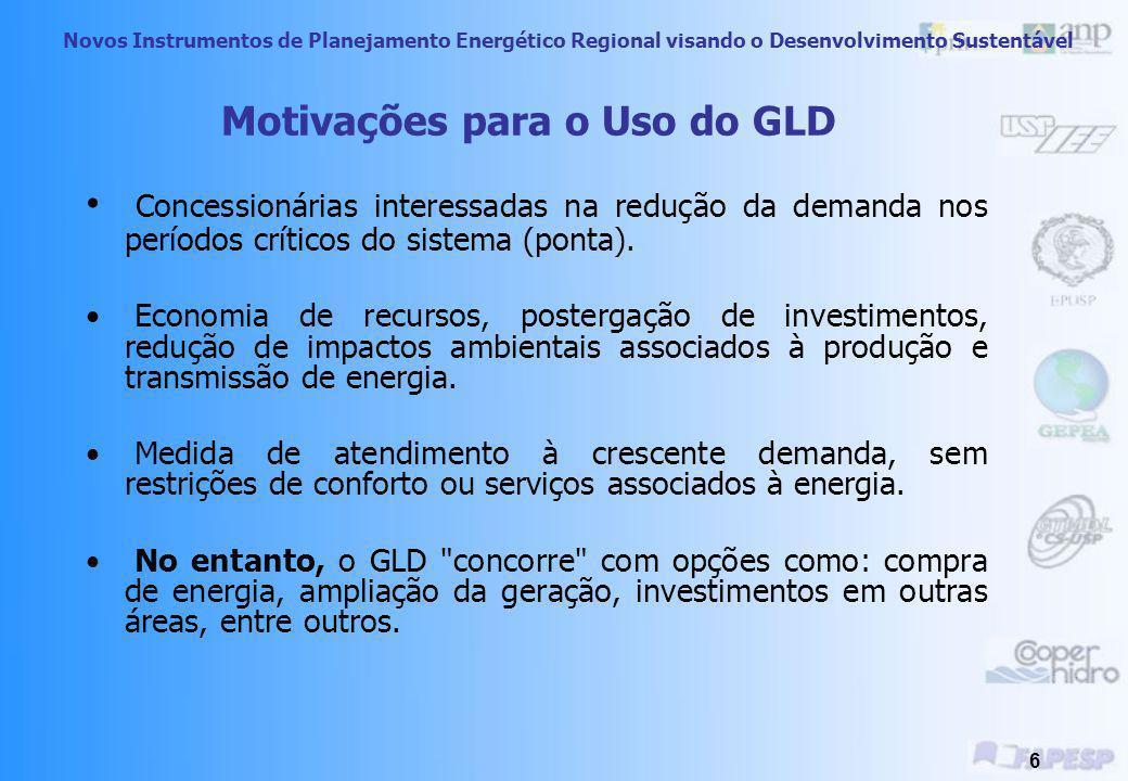 Novos Instrumentos de Planejamento Energético Regional visando o Desenvolvimento Sustentável 6 Motivações para o Uso do GLD Concessionárias interessadas na redução da demanda nos períodos críticos do sistema (ponta).