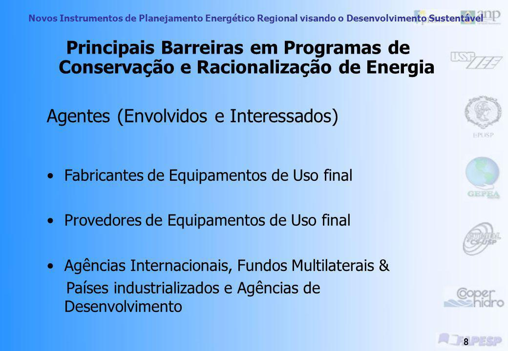 Novos Instrumentos de Planejamento Energético Regional visando o Desenvolvimento Sustentável 38 Financeiras e de Investimento Consumidor não tem capital, limitando programas em quantidade e soluções Nem sempre eficiência energética é vista como prioridade por parte da concessionária e consumidor Principais Barreiras Nacionais - Síntese