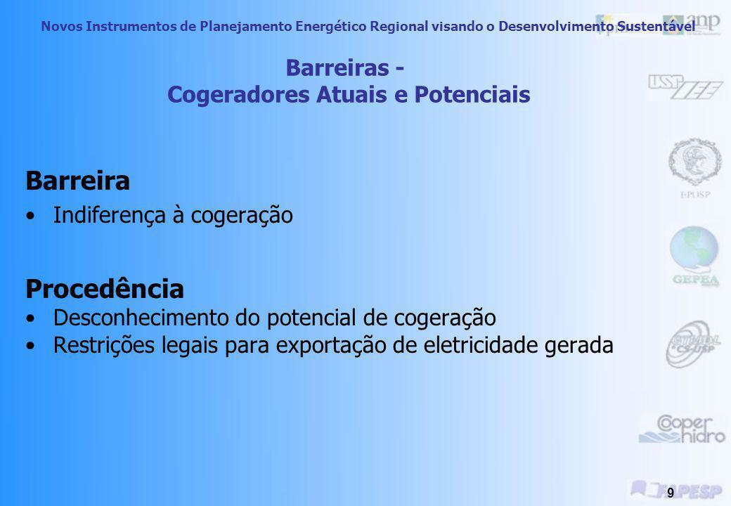 Novos Instrumentos de Planejamento Energético Regional visando o Desenvolvimento Sustentável 9 Barreira Indiferença à cogeração Procedência Desconhecimento do potencial de cogeração Restrições legais para exportação de eletricidade gerada Barreiras - Cogeradores Atuais e Potenciais