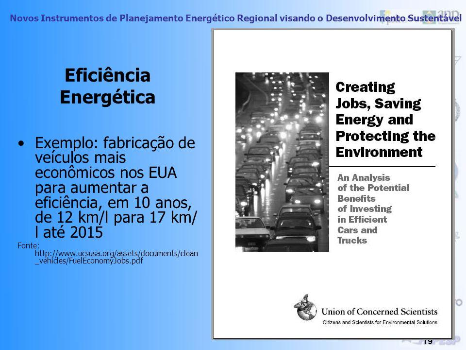 Novos Instrumentos de Planejamento Energético Regional visando o Desenvolvimento Sustentável 18 Geração de emprego por unidade de energia Em relação à