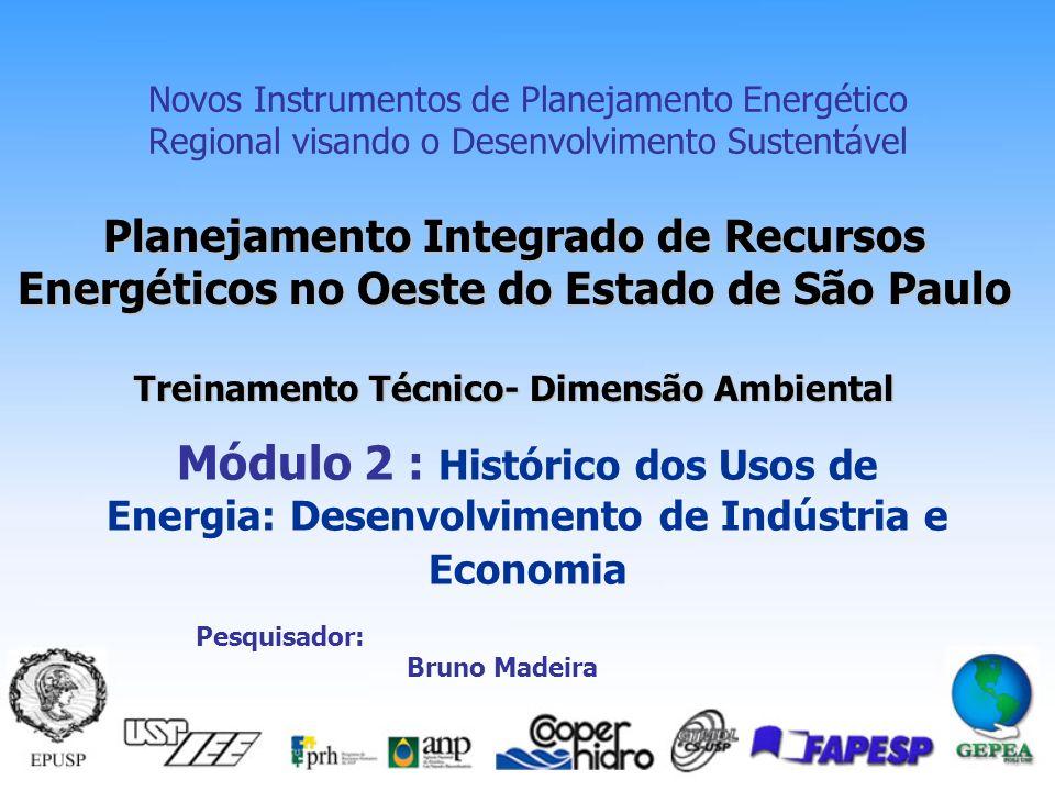 Planejamento Integrado de Recursos Energéticos no Oeste do Estado de São Paulo Treinamento Técnico- Dimensão Ambiental Novos Instrumentos de Planejamento Energético Regional visando o Desenvolvimento Sustentável Módulo 2 : Histórico dos Usos de Energia: Desenvolvimento de Indústria e Economia Pesquisador: Bruno Madeira