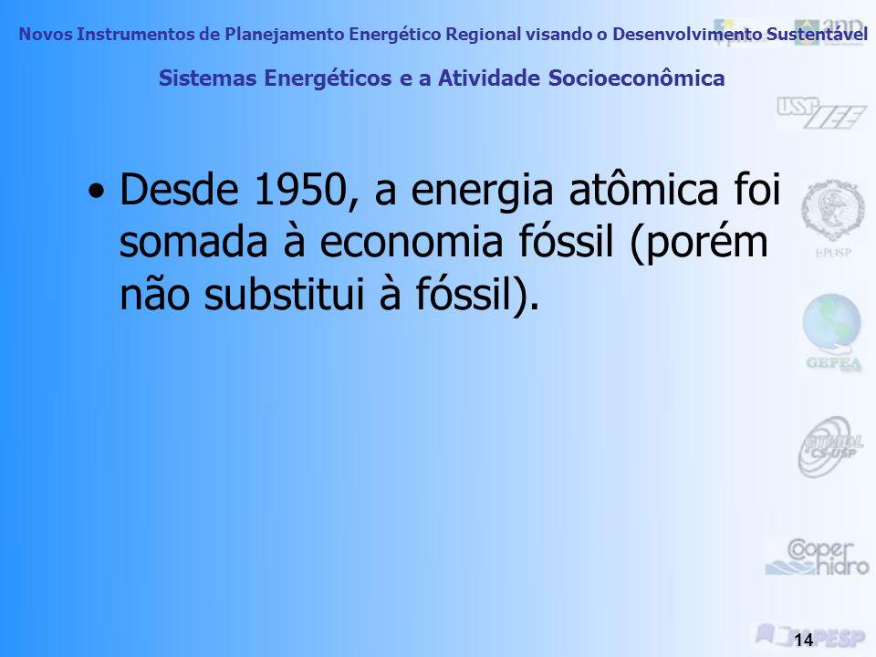Novos Instrumentos de Planejamento Energético Regional visando o Desenvolvimento Sustentável 13 Sistemas Energéticos e a Atividade Socioeconômica A máquina a combustão, coloca o combustível fóssil como referência para consumidores que emergem com as tecnologias energéticas do século 20.