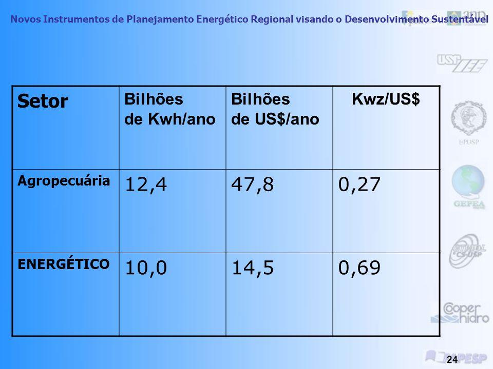 Novos Instrumentos de Planejamento Energético Regional visando o Desenvolvimento Sustentável 23 Setor Bilhões de Kwh/ano Bilhões de US$/ano Kwh/US COMERCIO E OUTROS 71,3324,80,22 Transporte 1,220,80,06 Indústria 138,5190,60,73