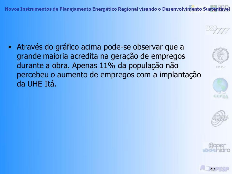 Novos Instrumentos de Planejamento Energético Regional visando o Desenvolvimento Sustentável 46 A empresa gerou emprego?
