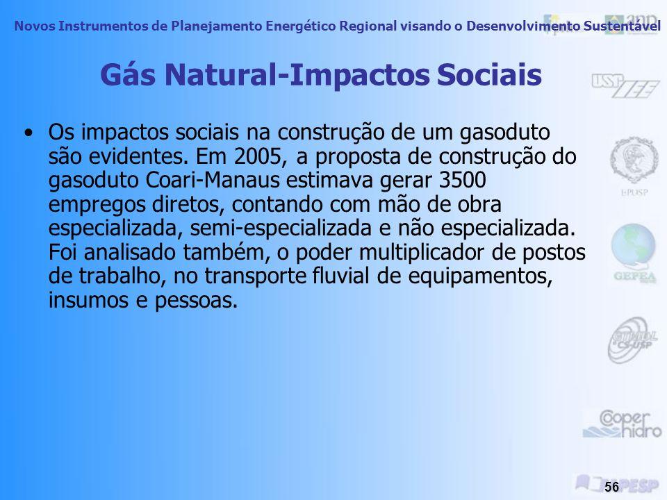 Novos Instrumentos de Planejamento Energético Regional visando o Desenvolvimento Sustentável 55 GNV apresenta uma economia de cerca de 60% em relação à gasolina.