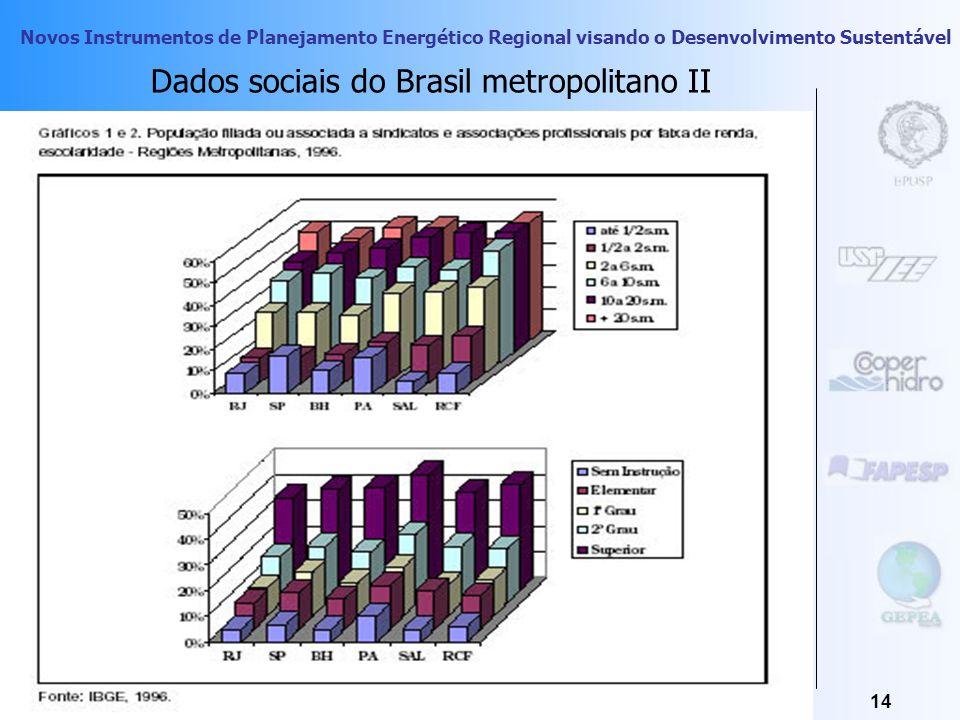 Novos Instrumentos de Planejamento Energético Regional visando o Desenvolvimento Sustentável 13 Segregação Urbana Dados sociais do Brasil metropolitan