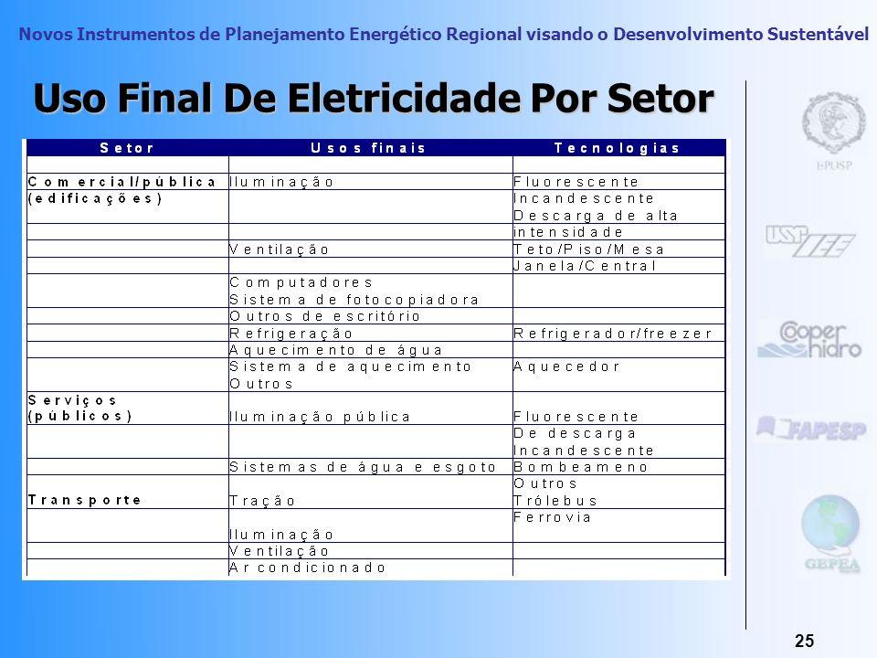 Novos Instrumentos de Planejamento Energético Regional visando o Desenvolvimento Sustentável 24 Uso Final De Eletricidade Por Setor