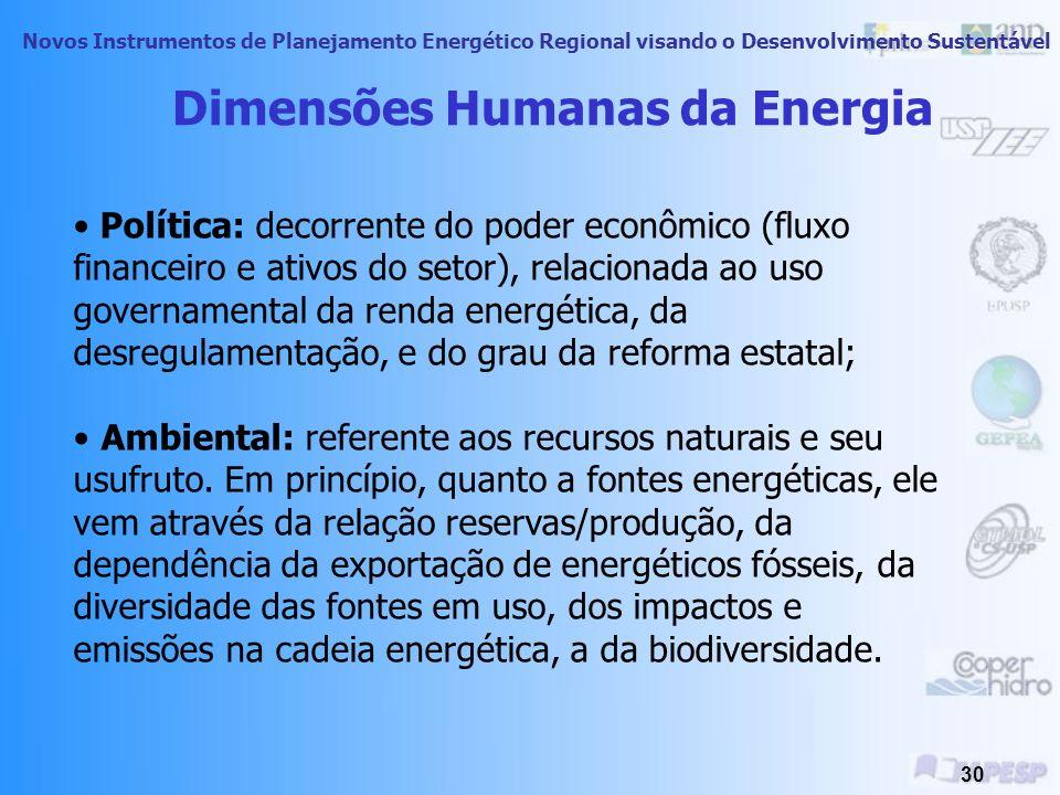 Novos Instrumentos de Planejamento Energético Regional visando o Desenvolvimento Sustentável 29 Dimensões Humanas da Energia Social: em termos das nec