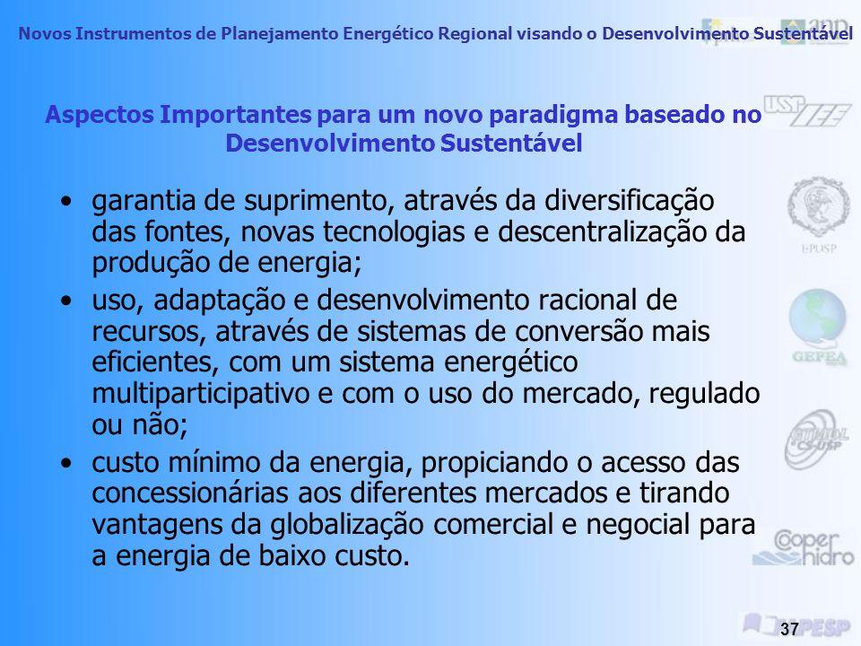 Novos Instrumentos de Planejamento Energético Regional visando o Desenvolvimento Sustentável 36 Desenvolvimento Sustentável A sustentabilidade depende