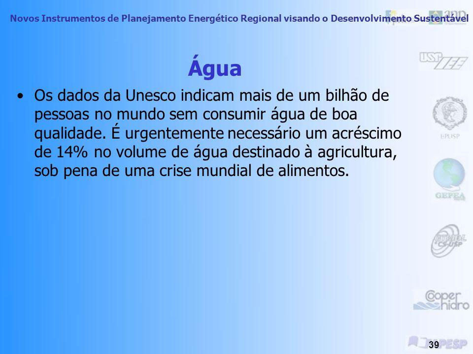 Novos Instrumentos de Planejamento Energético Regional visando o Desenvolvimento Sustentável 38 Água Embora 70% da superfície terrestre sejam cobertas