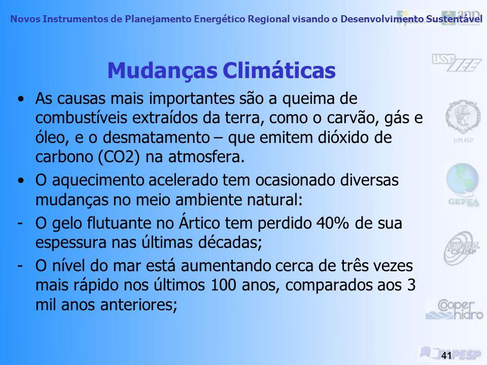 Novos Instrumentos de Planejamento Energético Regional visando o Desenvolvimento Sustentável 40 Mudanças Climáticas Previsões pessimistas estão sendo