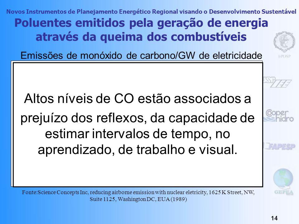 Novos Instrumentos de Planejamento Energético Regional visando o Desenvolvimento Sustentável 13 Poluentes emitidos pela geração de energia através da