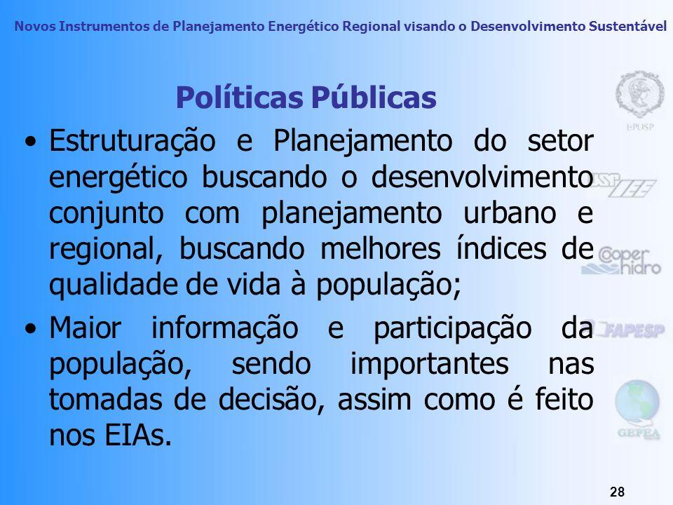 Novos Instrumentos de Planejamento Energético Regional visando o Desenvolvimento Sustentável 27 Políticas Públicas Necessidade de definição de usos pr