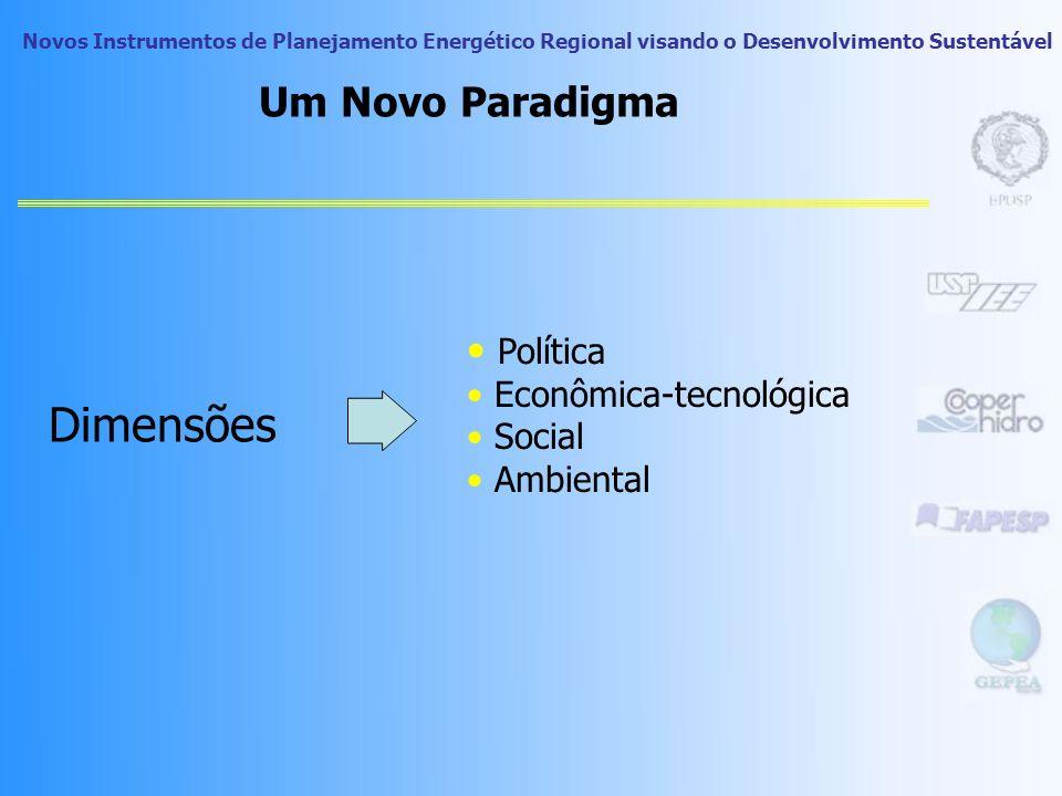 Novos Instrumentos de Planejamento Energético Regional visando o Desenvolvimento Sustentável Um Novo Paradigma Dimensões Política Econômica-tecnológica Social Ambiental