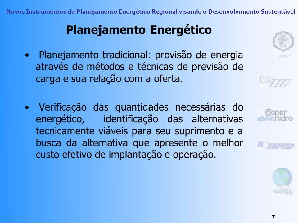 Novos Instrumentos de Planejamento Energético Regional visando o Desenvolvimento Sustentável 7 Planejamento Energético Planejamento tradicional: provisão de energia através de métodos e técnicas de previsão de carga e sua relação com a oferta.