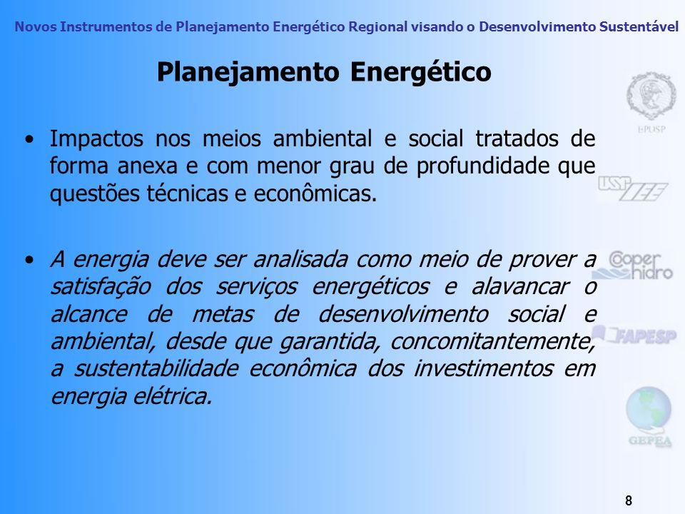 Novos Instrumentos de Planejamento Energético Regional visando o Desenvolvimento Sustentável 38 Dimensão Social - Atributos Efeitos do desequilíbrio ambiental no meio social Impactos na saúde pública: R$ ou internações por MWh Impactos na agricultura: R$/MWh Impactos em Edificações: R$/MWh Impactos decorrentes de poluição Sonora