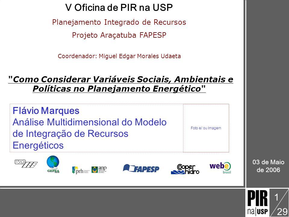 Flávio Marques V Oficina: Como Considerar Variáveis Sociais, Ambientais e Políticas no Planejamento Energético Análise Multidimensional do Modelo de Integração de Recursos Energéticos 29 2 Ponto de Partida Tese de Doutorado Modelo de Integração de Recursos como Instrumento para um Planejamento Energético Sustentável [GIMENES, 2004] Expectativas das Necessidades Específicas de integrar as metodologias hoje existentes no contexto do PIR para o setor elétrico utilizando-se uma ferramenta que atue como suporte à tomada de decisão dos Envolvidos-Interessados ( En-In ).