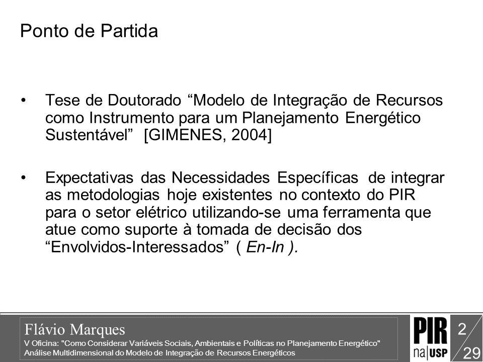 Flávio Marques V Oficina: Como Considerar Variáveis Sociais, Ambientais e Políticas no Planejamento Energético Análise Multidimensional do Modelo de Integração de Recursos Energéticos 29 23 Etapa5: Avaliação dos Custos Completos - Cubo Cubo ACC –Dimensões Utilizadas: REGIÃO, TEMPO, ELEMENTO, FATOR e TECNOLOGIA Medidas: –PESO_SUM / PESO_CNT: contabilizam os valores dos pesos atribuídos à cada Elemento de análise –ALT_SUM / ALT_CNT: representam os valores percentuais das alternativas atribuídas aos Elementos de análise –K: constante da Dimensão - Fator