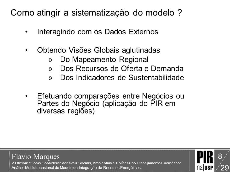 Flávio Marques V Oficina: Como Considerar Variáveis Sociais, Ambientais e Políticas no Planejamento Energético Análise Multidimensional do Modelo de Integração de Recursos Energéticos 29 19 Etapa1: Mapeamento Regional Dados Sociais – Esquema MEDIDAS DIMENSÕES