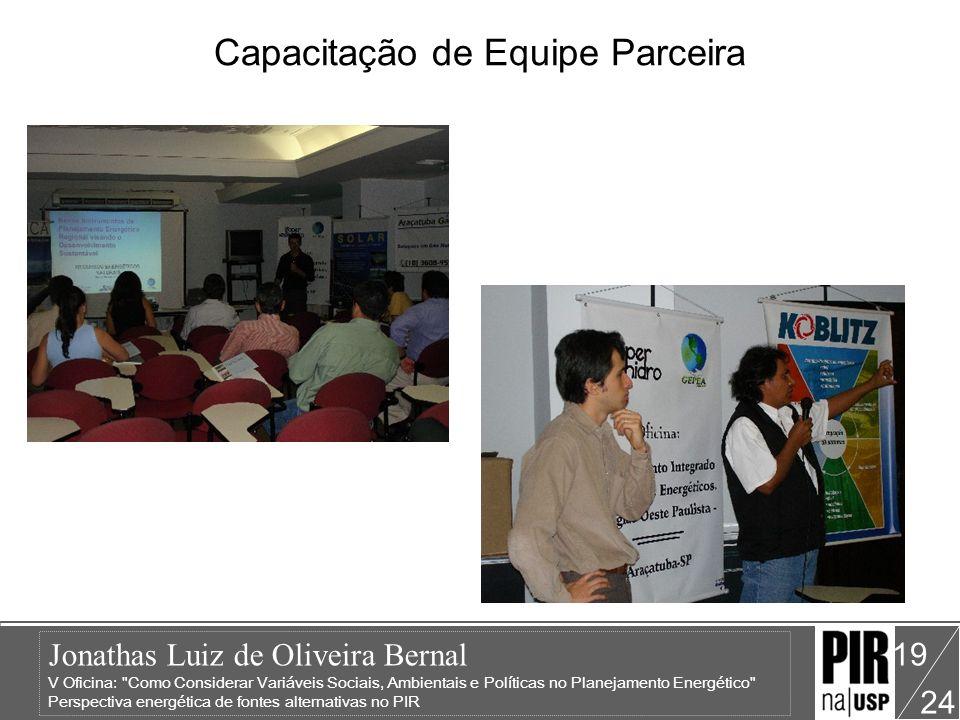Jonathas Luiz de Oliveira Bernal V Oficina: Como Considerar Variáveis Sociais, Ambientais e Políticas no Planejamento Energético Perspectiva energética de fontes alternativas no PIR 24 19 Capacitação de Equipe Parceira