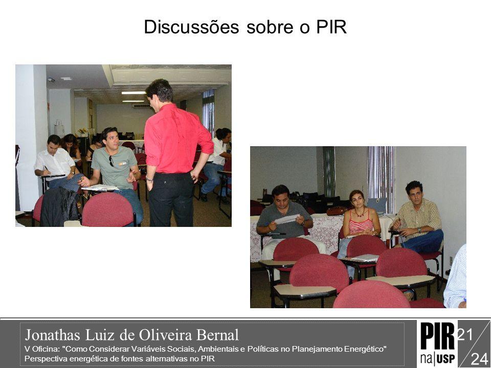 Jonathas Luiz de Oliveira Bernal V Oficina: Como Considerar Variáveis Sociais, Ambientais e Políticas no Planejamento Energético Perspectiva energética de fontes alternativas no PIR 24 21 Discussões sobre o PIR