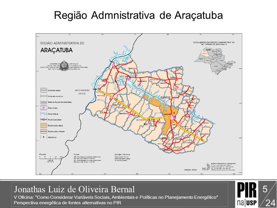 Jonathas Luiz de Oliveira Bernal V Oficina: Como Considerar Variáveis Sociais, Ambientais e Políticas no Planejamento Energético Perspectiva energética de fontes alternativas no PIR 24 5 Região Admnistrativa de Araçatuba