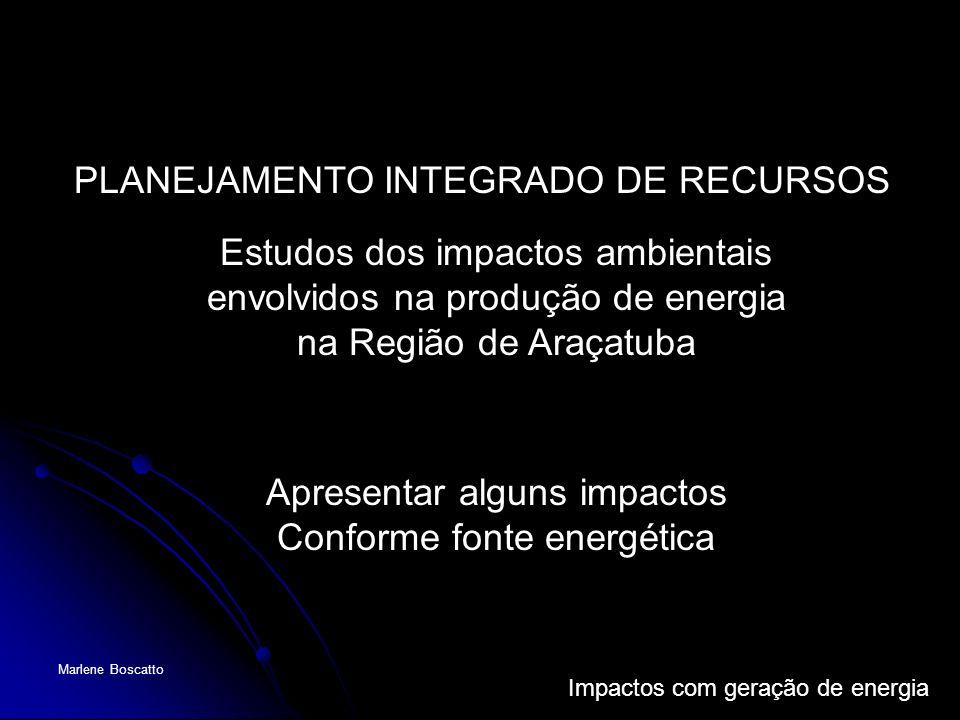 Impactos com geração de energia Marlene Boscatto PLANEJAMENTO INTEGRADO DE RECURSOS Estudos dos impactos ambientais envolvidos na produção de energia