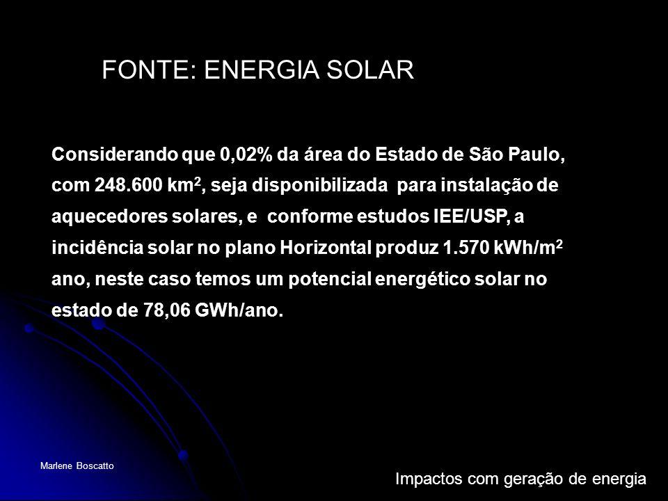 Impactos com geração de energia Marlene Boscatto Considerando que 0,02% da área do Estado de São Paulo, com 248.600 km 2, seja disponibilizada para in