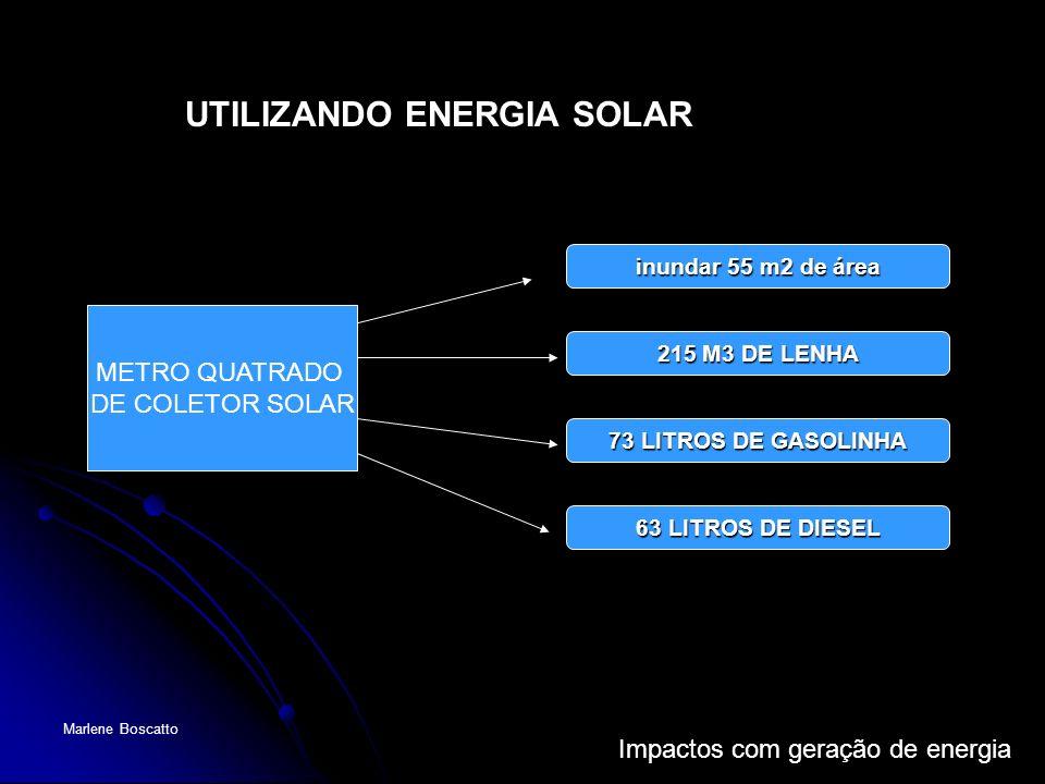 Impactos com geração de energia Marlene Boscatto METRO QUATRADO DE COLETOR SOLAR inundar 55 m2 de área 215 M3 DE LENHA 73 LITROS DE GASOLINHA 63 LITRO