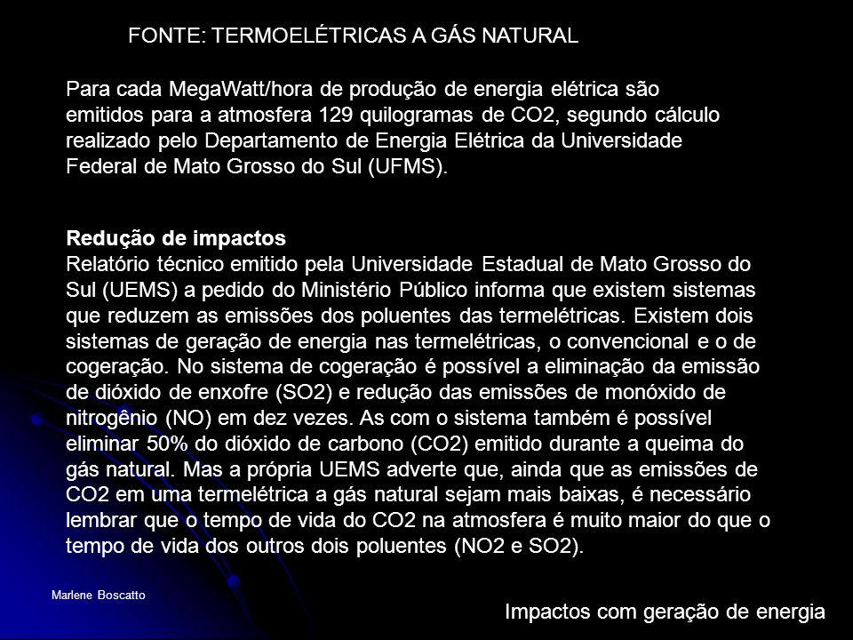Impactos com geração de energia Marlene Boscatto Para cada MegaWatt/hora de produção de energia elétrica são emitidos para a atmosfera 129 quilogramas