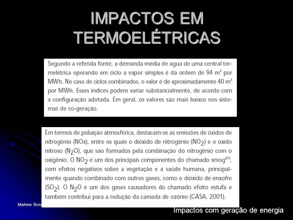 Impactos com geração de energia Marlene Boscatto IMPACTOS EM TERMOELÉTRICAS