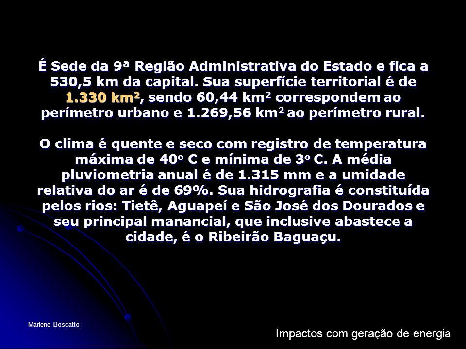 Impactos com geração de energia Marlene Boscatto É Sede da 9ª Região Administrativa do Estado e fica a 530,5 km da capital. Sua superfície territorial