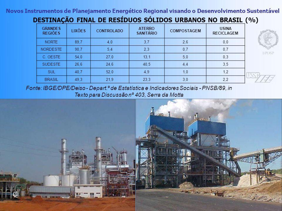 Novos Instrumentos de Planejamento Energético Regional visando o Desenvolvimento Sustentável 20 Termoelétricas para RSU Processamento Térmico tipo aut