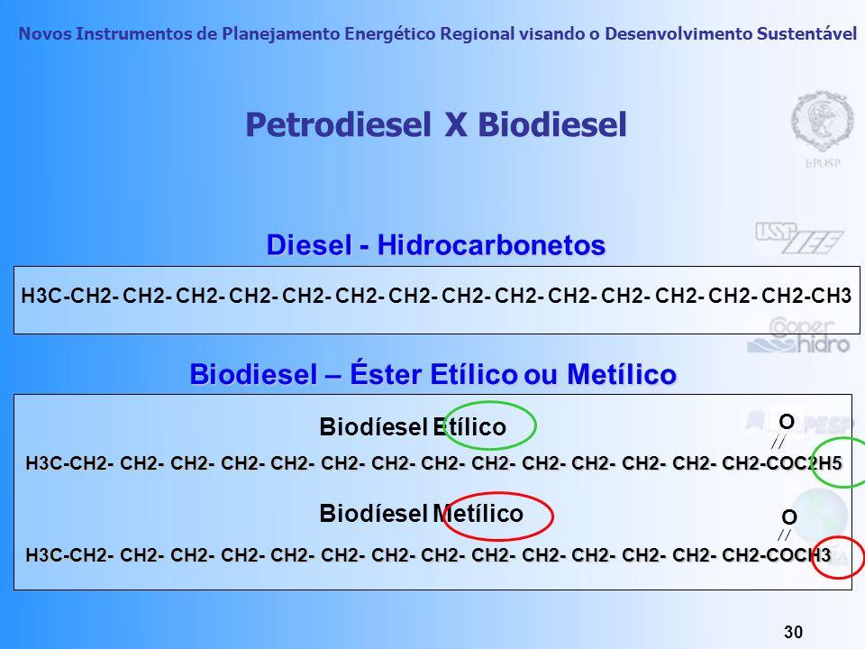 Novos Instrumentos de Planejamento Energético Regional visando o Desenvolvimento Sustentável 29 BIODIESEL a cada 1% de substituição de óleo diesel por