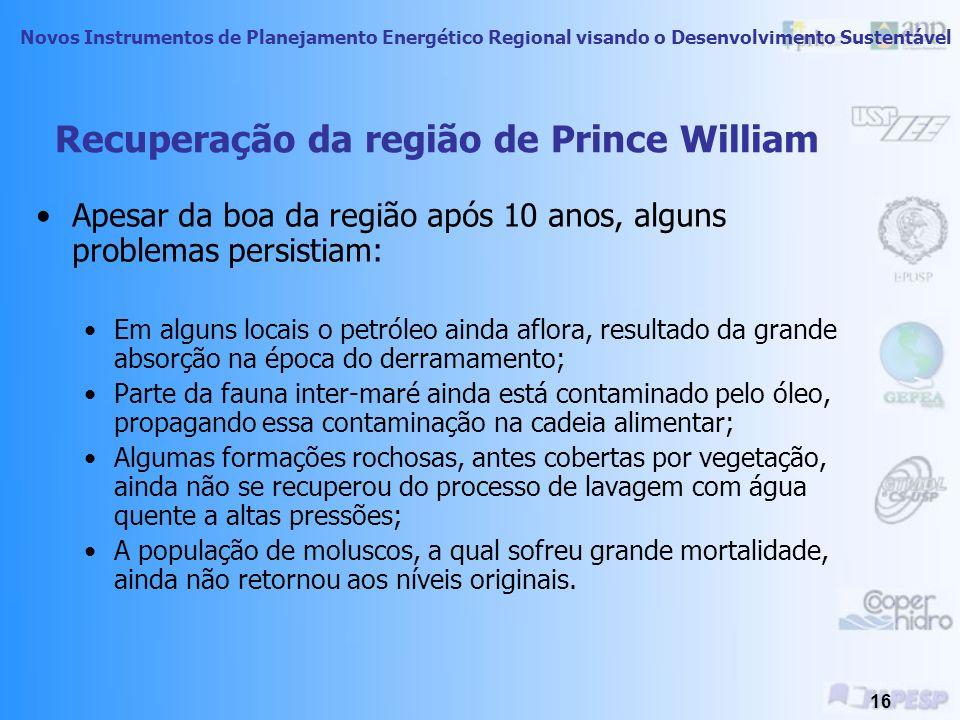 Novos Instrumentos de Planejamento Energético Regional visando o Desenvolvimento Sustentável 15 Recuperação da região de Prince William 1989 1998