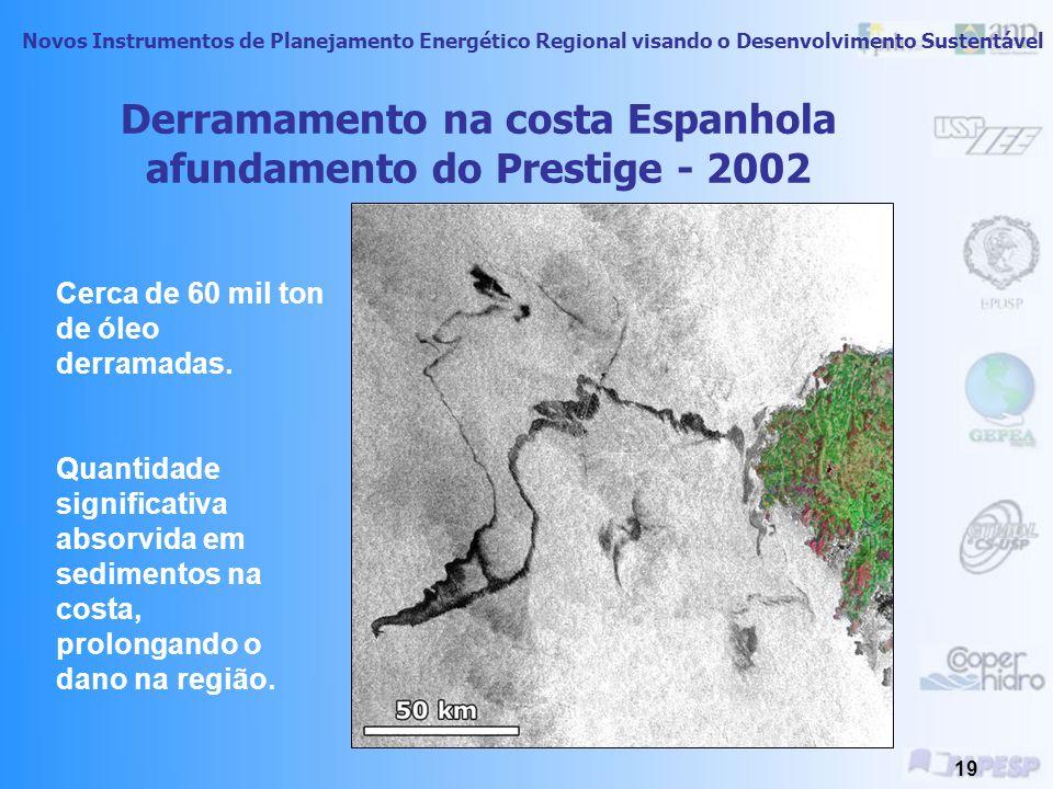 Novos Instrumentos de Planejamento Energético Regional visando o Desenvolvimento Sustentável 18 Impactos estimados 38,800 toneladas de petróleo derramadas 2,100 km de costas afetadas US$210 milhões gastos na limpeza 250,000 pássaros marinhos mortos (est.) 2,800 lontras mortas (est.) 300 focas mortas (est.) 250 águias mortas (est.) 22 baleias orcas mortas (est.)