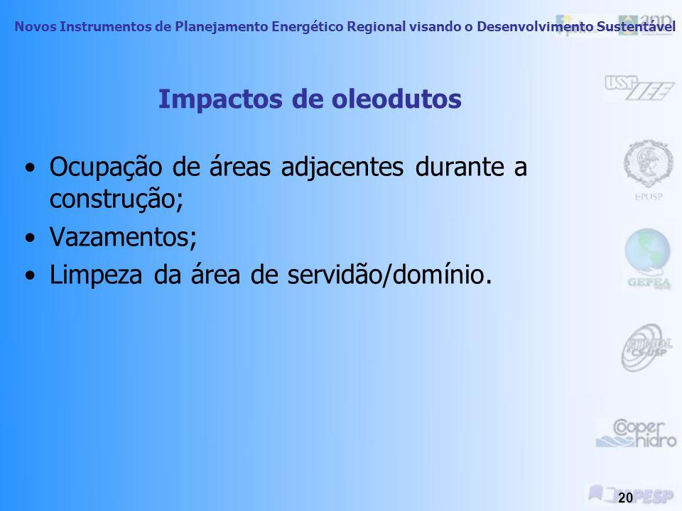Novos Instrumentos de Planejamento Energético Regional visando o Desenvolvimento Sustentável 19 Derramamento na costa Espanhola afundamento do Prestige - 2002 Cerca de 60 mil ton de óleo derramadas.