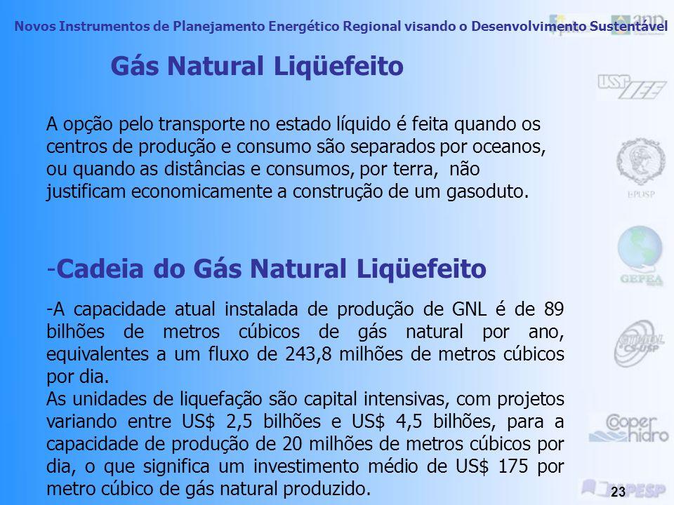 Novos Instrumentos de Planejamento Energético Regional visando o Desenvolvimento Sustentável 22 Gás Natural - Gasodutos - Tubulação Tipicamente, a tubulação tem diâmetros na faixa de 24 a 47 polegadas (0,6 a 1,12 m) operando a altas pressões (de 40 a 100 bar).