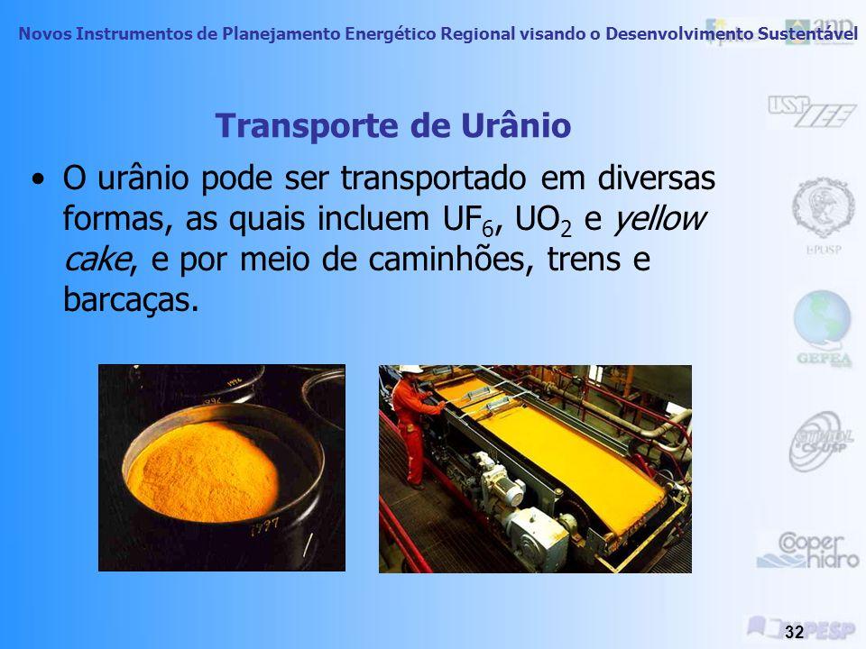 Novos Instrumentos de Planejamento Energético Regional visando o Desenvolvimento Sustentável 31 Urânio O urânio, combustível radiativo usado na geraçã