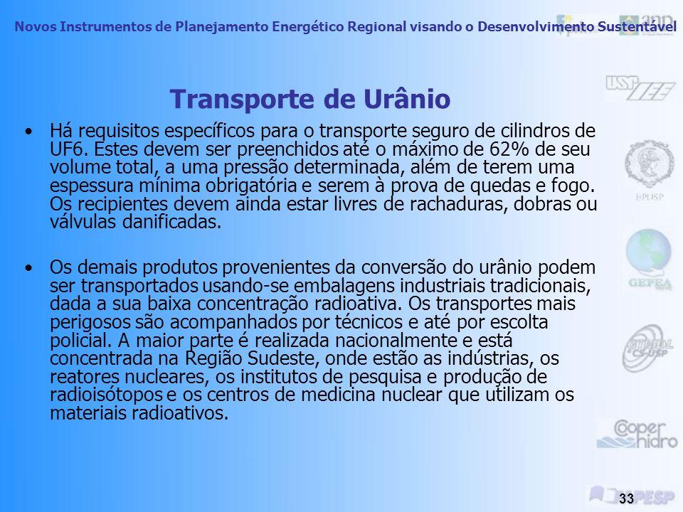 Novos Instrumentos de Planejamento Energético Regional visando o Desenvolvimento Sustentável 32 Transporte de Urânio O urânio pode ser transportado em diversas formas, as quais incluem UF 6, UO 2 e yellow cake, e por meio de caminhões, trens e barcaças.