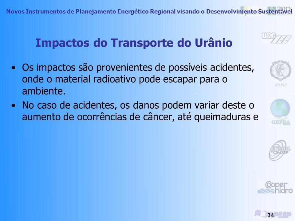 Novos Instrumentos de Planejamento Energético Regional visando o Desenvolvimento Sustentável 33 Transporte de Urânio Há requisitos específicos para o transporte seguro de cilindros de UF6.