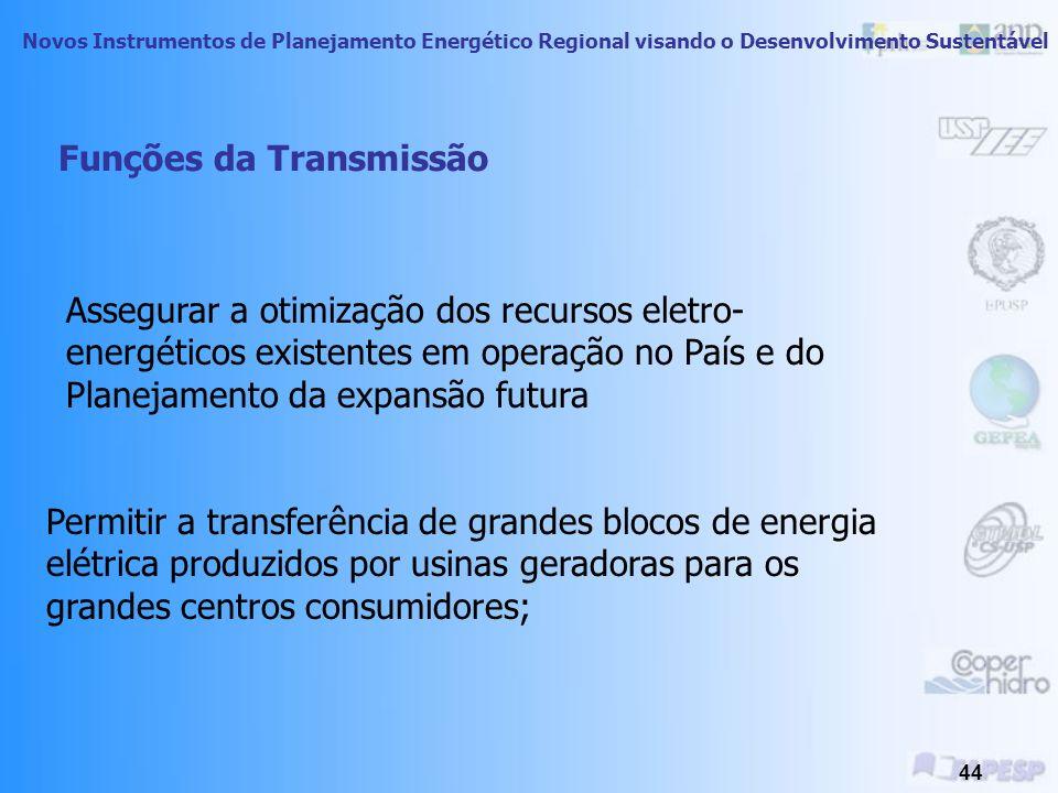 Novos Instrumentos de Planejamento Energético Regional visando o Desenvolvimento Sustentável 43 O Papel da Transmissão Permitir o trânsito de energia da geração para os usuários.