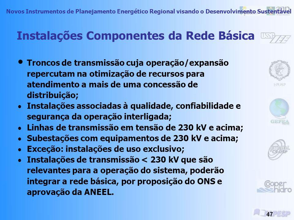 Novos Instrumentos de Planejamento Energético Regional visando o Desenvolvimento Sustentável 46 Interconexões Brasileiras Internas e Externas Linhas de Transmissão Gasodutos Argentina Itaipu Venezuela Sistemas Isolados
