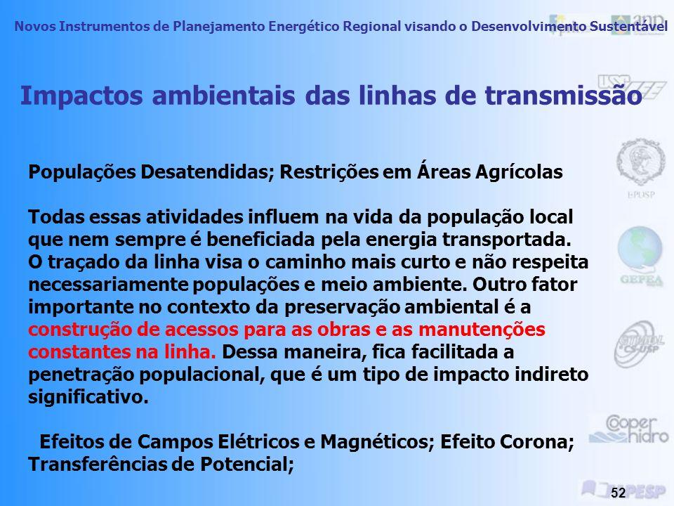Novos Instrumentos de Planejamento Energético Regional visando o Desenvolvimento Sustentável 51 Impactos ambientais das linhas de transmissão As linhas de transmissão causam impactos socioambientais durante sua construção e fase de operação.