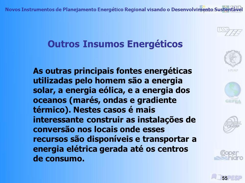 Novos Instrumentos de Planejamento Energético Regional visando o Desenvolvimento Sustentável 54 Ações possíveis para diminuição de impactos Otimização