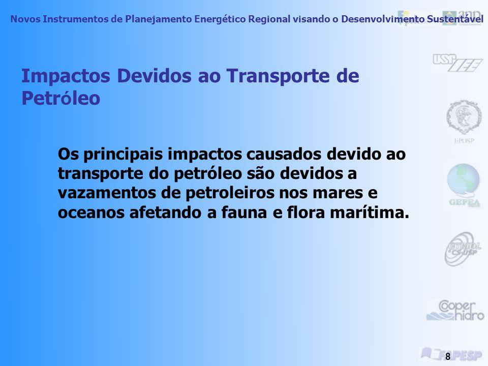 Novos Instrumentos de Planejamento Energético Regional visando o Desenvolvimento Sustentável 7 Petroleiros ClasseDescriçãoCapacidade mínima (DWT) Peso máximo (ton) Handymax10.00055.000 Panamax Tamanho máximo para o canal do Panamá 60.00075.000 Aframax Tamanho American Freight Rate Assoc.
